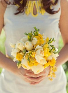 Pastel Yellow Roses, Yellow Freesia, Yellow Button Mums, Yellow Craspedia (Billy Balls, Billy Buttons) Wedding Bouquet