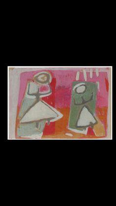 """Jaap Nanninga - """" Compositie met twee figuren """", 1951/1952 - Gouache - 30 x 42 cm"""