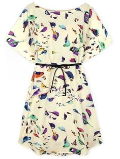 19$  Buy now - http://di354.justgood.pw/go.php?t=422 - Beige Batwing Short Sleeve Birds Print Shift Dress