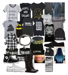 """""""Random stuff I like"""" by bullying-stops-here259 ❤ liked on Polyvore featuring Converse, French Connection, Forever 21, H&M, Vans and JFR"""