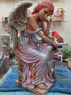 Ceramic Painting, Ceramic Art, Angel Artwork, Fairy Figurines, Forest Fairy, Fairy Houses, Diy And Crafts, Heaven's Gate, Sculpture