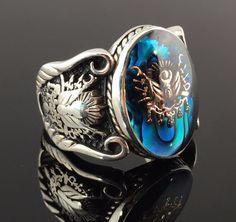 .925 Sterling Silver Sapphire Enamelled Stone Ottoman Men`s Ring -US Seller K6M in Jewelry & Watches, Men's Jewelry, Rings   eBay