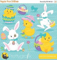 80% OFF SALE easter friends, easter bunny clipart commercial use, vector graphics, digital clip art, digital images - CL643 by Prettygrafikdesign on Etsy https://www.etsy.com/uk/listing/182562859/80-off-sale-easter-friends-easter-bunny