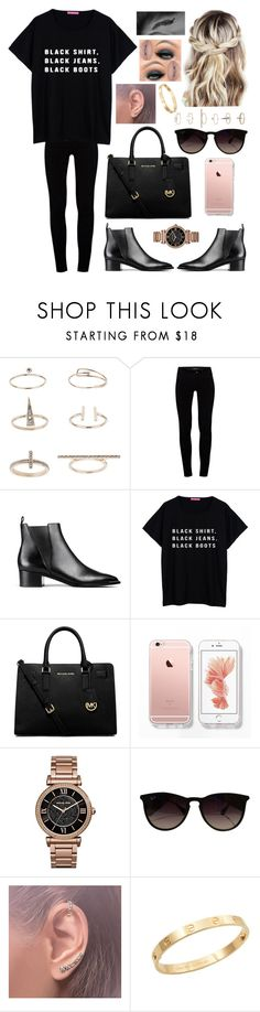 """""""I Wish I Could Be There Now"""" by theycallmeascrewup ❤ liked on Polyvore featuring Topshop, J Brand, Acne Studios, MICHAEL Michael Kors, Michael Kors, Ray-Ban, Annoushka, Cachet and Castello"""