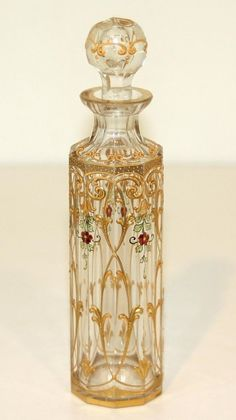 French Clear Baccarat Glass Perfume Bottle with colored enamel, c1890 - 1920
