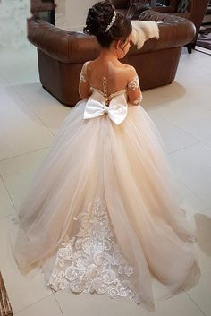 Buy Ball Gown Round Neck Light Champagne Tulle Bowknot Flower Girl Dress with Appliques on https://www.promdress.me.uk/