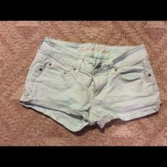 American Eagle mint shorts  Worn twice, but out grew them  American Eagle Outfitters Shorts Jean Shorts