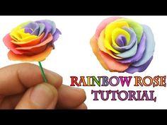 Clay Tutorials, Free Tutorials, Video Tutorials, Craft Websites, Tie Dye Rainbow, Clay Flowers, Sugar Flowers, Rainbow Roses, Rose Tutorial