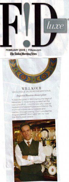 Article regarding the Imperial Russian collection of Will Kolb. Dallas Morning News.  Feb. 2009