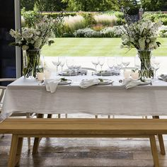 A vintage linen washed table cloth from The White Company will suit any country home