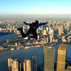 Base jumping from the top of Shanghai's Jin Mao Tower