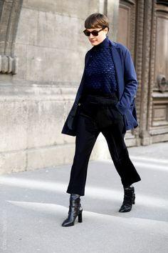 she is so cool. #KoncaAykan working navy & black in Paris.