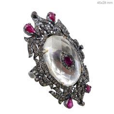 14K Gold Diamond Cocktail Handmade Ring New Gemstone 925 Sterling Silver Jewelry #raj_jewels