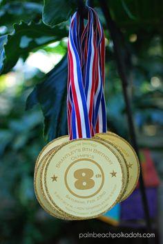 Gymnastics Gold Medal Birthday Party Invitation