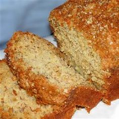 Banana Bread V ::Allrecipes.com    This is by far the BEST Banana Bread I have ever had. I always bake it in 4 small bread pans and then it only takes about 30-35 minutes instead of the hour. Just keep checking it.  I also sprinkle brown sugar on the top of the batter as soon as I pour it into the pans so that the sugar bakes into the top of the bread.