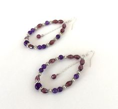 Purple beaded teardrop hoop earrings, amethyst, agate, crystal and silver