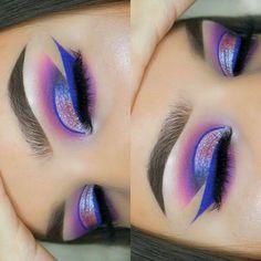 Purple, blue pink shimmer eyeshadow w/ blue liner
