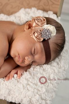 Baby Headband, Newborn headband, Infant Headband, Toddler Headband, Gold and Ivory Rosette Headband