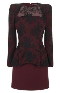 Oxblood Trompe L'oeil  Peplum Lace Mini-Dress - Alexander McQueen