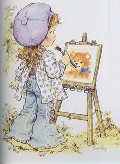 Sarah faisant de la peinture