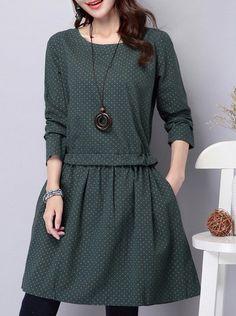 Vintage Style Scoop Neck Long Sleeve Polka Dot Dress For Women
