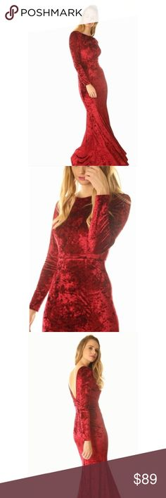 🆕 Red Velvet Long Sleeve Deep V-Back Maxi Gown New with tags. Stunning velvet gown featuring long sleeves and a deep v-cut back. Has a fitted & flared mermaid cut with a small train for added dramatic effect. Be the center of attention at your upcoming Holiday parties in this beauty. These will be in early next week.                                                                         🌸95% polyester, 5% elastane.                                                          ❌SORRY, NO…