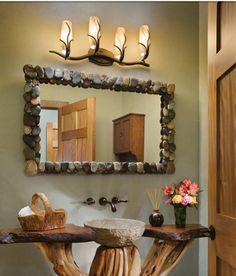 Stone mirror and sink, natural wood vanity design ideas decorating before and after interior room design design Log Home Bathrooms, Rustic Bathrooms, Wood Bathroom, Natural Bathroom, Bathroom Ideas, Bathroom Furniture, Bathroom Renovations, Bathroom Interior, Earthy Bathroom