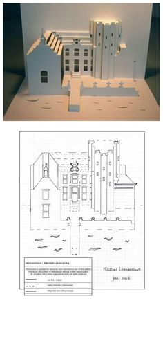 3D paper card - church