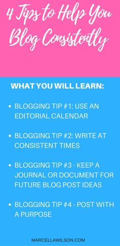 Blogging tips to help mommy bloggers blog on a consistent basis are discussed. These 4 blogging tips and tricks will help you if you are struggling to blog.