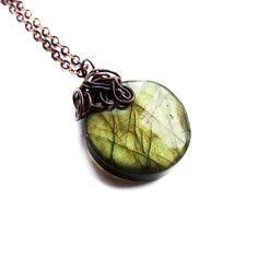 beautiful labradorite drop necklace  bohemian elvish by KicaBijoux