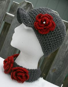Hat scarf set Charcoal Gray & Burgundy Newsboy Hat with Matching Scarflette crochet with pearl button accents.. $45.00, via Etsy.