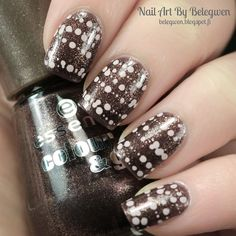 Nail Art by Belegwen: Essence Caramel Brownie with nude stamps