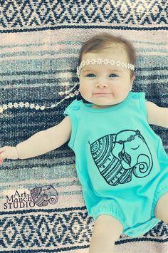 Elephant romper, Baby or toddler summer romper, Baby bubble romper, Bohemian…