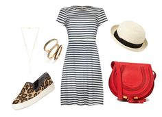 Casual Weekend - A line Striped Dress by dressed2dnines on Polyvore featuring Fever, Sam Edelman, Chloé, Judith Jack, Gorjana and Forever 21