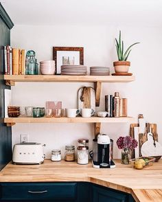A chic kitchen renovation featuring open shelving and a farmhouse sink via Jess . A chic kitchen renovation featuring open shelving and a farmhouse sink via Jess Ann Kirby Always wanted to discover how . Home Interior, Kitchen Interior, Kitchen Decor, Interior Design, Kitchen Furniture, Dorm Kitchen, Modern Furniture, Small Apartment Kitchen, Teal Kitchen