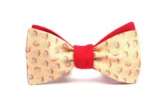 Mens bow tie Red Salmon Reverse Side 100% Natural Silk