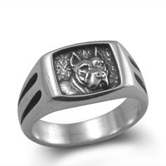 We are proud to introduce our new Pit Bull Terrier Ring in Sterling Silver... soon to be one of our most popular items. A sure favorite with the dog jewelry, Pitbull lover... This solid, sturdy ring has captured the strong and beautiful face of this American Pit Bull Terrier in classic form including the cropped ears...   The new Pit Bull Ring is just under 1/2 inch wide at the very top (7/16 to be exact) or 11mm and is available in sizes 9 - 12...  (Please email us if you need a different…