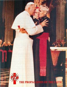 St. John Paul the great with the Venerable Fulton John Sheen before his death in 1979. St. John Paul as pope personally told Archbishop Sheen that he (Sheen) shall be a saint one day.