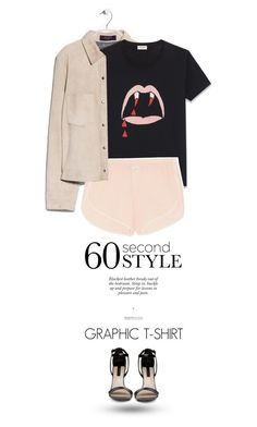 """60 Second Style: Graphic T-Shirts"" by juhh ❤ liked on Polyvore featuring MANGO, Yves Saint Laurent and Skin"