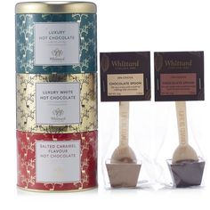 805769 Whittard of Chelsea Luxury Festive Hot Chocolate Selection - QVC PRICE: £21.00 EVENT PRICE: £16.92 + P&P: £2.95 This hot chocolate selection from Whittard of London features a stacking tin of three luxurious hot chocolate flavours, including a delicious Salted Caramel variety, plus two chocolate spoons to add an indulgent twist to your drink. Create the perfect chocolate moment throughout the festive season - and beyond - with this Whittard of London set.