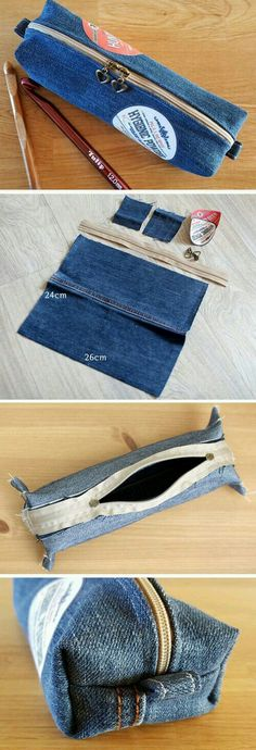 Cosmetic Bag or Pencil Case of Jeans DIY : Denim make-up bag or Pencil Case Tutorial DIY ~ Sewing projects for beginners. Denim make-up bag or Pencil Case Tutorial DIY Diy Sewing Projects, Sewing Projects For Beginners, Sewing Tutorials, Pencil Case Tutorial, Diy Pencil Case, Pencil Cases, Pouch Tutorial, Pencil Case Pattern, Diy Pencil Pouches