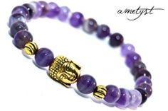 BUDDHA náramok gold ametyst Buddha, Beaded Bracelets, Gold, Jewelry, Fashion, Moda, Jewlery, Jewerly, Fashion Styles