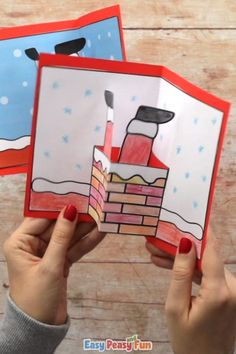 Christmas Cards Handmade Kids, Christmas Card Crafts, Christmas Art, Christmas Activities For Kids, Winter Crafts For Kids, Diy Snowflake Decorations, Easy Paper Crafts, Channel, Santa
