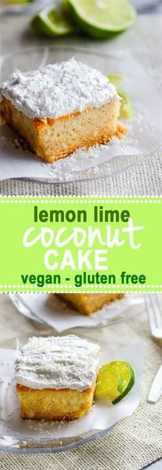 Gluten Free Lemon Lime Coconut Vegan Cake with Whipped Coconut Cream Frosting