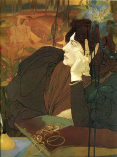 I find this painting so intriguing! The woman's expression is one of worry and deep contemplation. With the exception of the one ring and one bracelet on her left hand (perhaps with the most sentimental value?), her gold jewelry lays in a pile before her... iGeorges de Feure (1868-1943) French Art Nouveau Painter ~