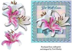 This is a beautiful 6 x 6 card front. Very easy to make, and the stargazer and white lilies are photographic quality. Birthday Greeting Cards, Birthday Greetings, Happy Birthday, 3d Pattern, Patterns, 3d Sheets, White Lilies, 3d Cards, Get Well Soon