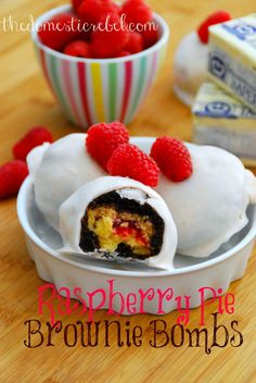 Raspberry Pie Brownie Bombs! These sinful treats are stuffed with fresh raspberry pie, then smothered by a fudgy brownie.