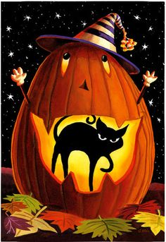 JACK O'BEALE BLACK CAT HALLOWEEN JACK-O-LANTERN Fall Evergreen Garden Flag