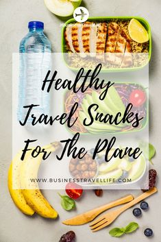 30 Healthy Travel Snack Ideas That You Can Take On The Airplane PLUS Tips For Getting Food Through TSA Security at the Airport.   #TravelTips #HealthyTravel #BusinessTravel #TravelMeals #TravelSnacks
