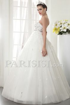 vestidos de novia Tul Sin tirantes Encaje Imperio Sin Mangas Hasta Suelo Marfil Elegante Moderno Glamouroso Flors Cristals
